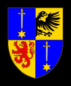 Ecartelé: aux 1 et 4 d'azur à une épée d'argent garnie d'or, la pointe en bas, soutenue d'une étoile d'or, au 2 d'or à une demie-aigle de sable, mouvant du parti, au 3 d'or au lion de gueules.