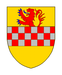 Evrard de LA MARCK, seigneur d'ARENBERG;D'or à la fasce échiquetée d'argent et de gueules, brisé d'un lion de gueules, armé et lampassé d'azur, issant de la fasce