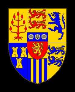 Parti de deux traits, coupé d'un, qui font 6 quartiers:au 1 d'or au créquier de gueules, au 2 d'or à deux lions léopardés de gueules, au 3 d'or au loup rampant d'azur, au 4 d'azur à trois tours d'or,au 5 d'azur à trois pals d'or, au chef du même,au 6 d'or à deux lions léopardés d'azur. Sur le tout de gueules au lion d'or, au chef cousu d'azur chargé de trois roses d'argent.