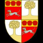 Ecartelé, au I et IV de gueules à la levrette courant d'argent, accolée et bouclée d'or, au chef du même chargé de trois roses de gueules, au II et III aux II et III à un arbre terrassé.