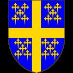 D'azur à la croix d'or cantonnée de vingt croisettes recroisettées au pied fiché du même, rangés 5 par 5 en sautoir.