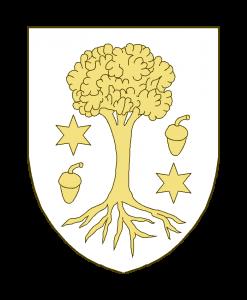 Un arbre arraché accosté à dextre d'un gland surmonté d'une étoile à six rais, à sénestre d'une étoile à six rais surmontée d'un gland.