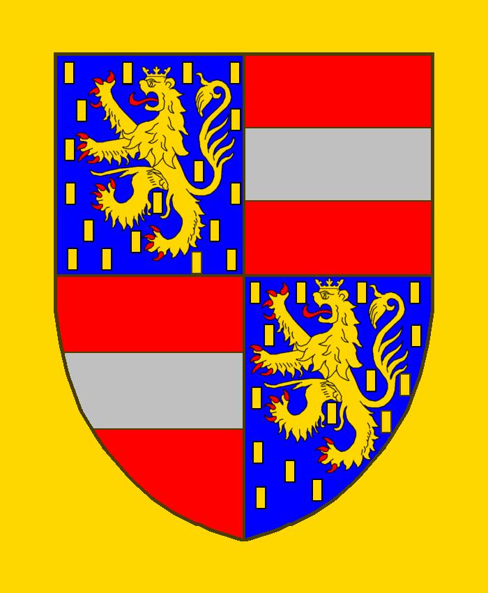 Ecartelé: aux I et IV d'azur semé de billettes d'or, au lion d'or couronné du même, armé et lampassé de gueules; aux II et III de gueules à la fasce d'argent.