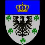 D'argent à l'aigle de sable accompagnée en chef aux flancs et en pointe de cinq trèfles de sinople posés 2-2-1 au chef d'azur chargé d'une couronne grand-ducale d'or