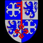Ecartelé: aux I et IV d'azur à la croix ancrée d'argent: aux II et III d'argent au lion d'azur armé et lampassé de gueules à la clef de gueules posée en pal le panneton en haut brochant sur le tout