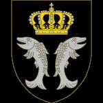 De sable à deux poisson adossés d'argent accompagnés en chef d'une couronne grand-ducale d'or