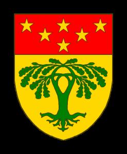 d'or au chêne à quatre branches entrelacées de sinople au chef de gueules chargé de six étoiles d'or posées 3-2-1