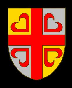 écartelé d'or et d'argent à la croix de gueules brochant cantonnée des pièces d'une croix ancrée déjointe du même
