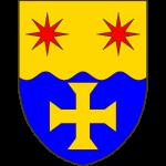 Coupé-ondé en chef d'or à deux étoiles à huit rais de gueules posées en fasce en pointe d'azur à la croix pattée et alésée d'or