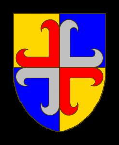 Ecartelé d'or et d'azur à la croix ancrée écartelée de gueules et d'argent brochant