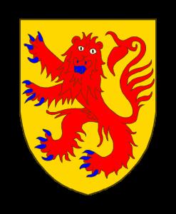 ;D'or au léopard lionné de gueules, armé et lampassé d'azur.