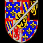 Ecartelé: aux 1 et 4 de Bourgogne moderne, au 2 parti de Bourgogne ancien et de Brabant, au 3 parti de Bourgogne ancien et de Limbourg. Sur le tout de Flandre. Un filet en barre d'argent brochant sur le tout du tout.