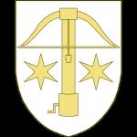 Une arbalète accostée de deux étoiles à six rais.