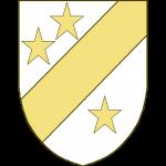 Une barre, accompagnée de trois étoiles, deux en chef, une en pointe.