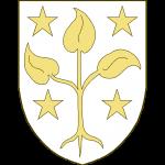 Un plant de trois feuilles arraché, accompagné de quatre étoiles, deux en chef, deux en pointe.