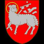 De gueules à l'agneau pascal d'argent nimbé d'or tenant une bannière aussi d'argent chargée d'une croix de gueules
