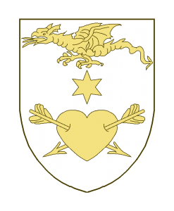 Un dragon volant en chef, un coeur percé de deux flèches en pointe, les pointes en bas, et en abîme une étoile à six rais.