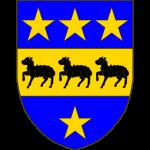 D'azur à la fasce d'or chargée de trois agneaux de sable, et accompagnée de quatre étoiles d'or, trois en chef, une en pointe.