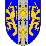 D'azur à deux lions adossés d'or, tenant chacun de la dextre une épée haute au naturel, l'écu chargé d'un pal semé d'hermines à deux alérions éployés et couronnés d'or, posés l'un sur l'autre, brochant.