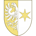 Parti: au I une aigle mouvant du parti, au II une étoile à six rais.