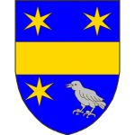 D'azur à la fasce d'or, accompagnée en chef de deux étoiles à six rais du même, en pointe à dextre d'une troisième étoile aussi du même, à sénestre d'un oiseau d'argent.