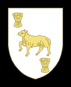 Un agneau passant, accompagné en chef à dextre d'une gerbe, et au point du chef d'un petit meuble inconnu.
