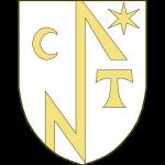 Une pièce en pal en forme de crampon contourné, joignant le chef et la pointe, accompagnée à dextre accompagnée à dextre d'une lettre C en forme de croissant, à sénestre d'une étoile à six rais en chef, et d'un écu.