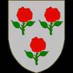D'argent à trois roses figurées au naturel, de sinople, boutonnées de gueules.