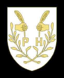 Deux mains affrontées, tenant chacune un plume, surmontant les lettres P et H, le tout accosté de deux rameaux feuillés, passés en sautoir en pointe.