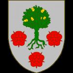 D'argent au chêne feuillé de sinople, englanté d'or accompagné de trois roses de gueules, 2 et 1.