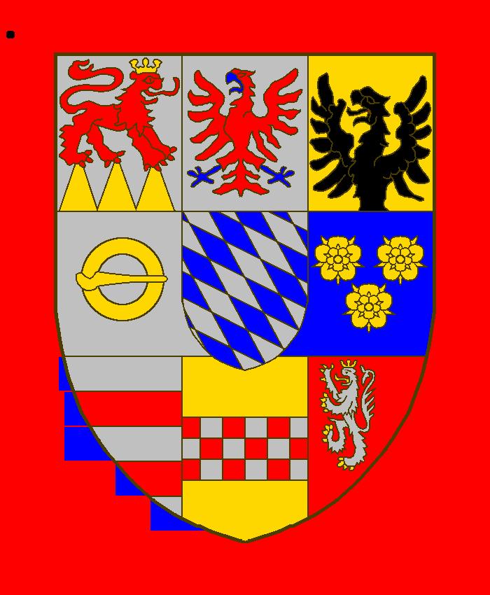 tiercé en fasce, parti de deux, qui font neuf quartiers:1) Loewenstein,2) Rochefort, qui est d'argent à l'aigle de gueules, becquée et membrée d'azur,3) combiné avec 6) pour former Wertheim, qui est coupé d'or à l'aigle naissante de sable, mouvante du coupé, et d'azur à trois roses d'or,4) Montagu, qui serait d'argent à la boucle ronde d'or,5) écusson sur le tout Bavière,6) voir 3),7) Breuberg, qui est d'argent à deux fasces de gueules. 8) de la Marck9) Scharfeneck.