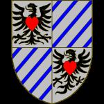 Ecartelé: aux I et IV d'argent à l'aigle de sable, chargée sur la poitrine d'un coeur de gueules, les II et III d'argent à cinq cotices d'azur en barre.