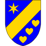 D'azur à la barre d'or, accompagnée en chef d'une étoile à six rais d'or, en pointe de trois coeurs d'argent rangées en barre.