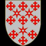 D'argent à trois molettes de gueules posées 2-1, accompagnées de 9 croisettes recroisettées du même, 3 en chef, 3 en fasce, 3 en pointe, ces dernières posées 2-1.