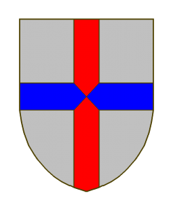 D'argent à une croix, dont le montant est de gueules et la traverse d'azur.