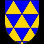 Trianglé d'azur et d'or, au moyen de deux traits horizontaux, de trois traits diagonaux de dextre à senestre, et de trois autres traits diagonaux de senestre à dextre.