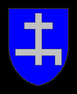 D'azur à une croix de Lorraine d'argent, la traverse inférieure à senestre cramponnée vers le bas.