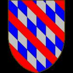 De gueules à trois bandes, chacune losangée d'azur et d'argent au moyen d'un trait diagonal et d'autres traits verticaux.
