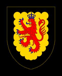 D'or au lion de gueules, armé et lampassé d'azur, sommé d'une couronne royale du même émail, à la bordure échancrée de sable.