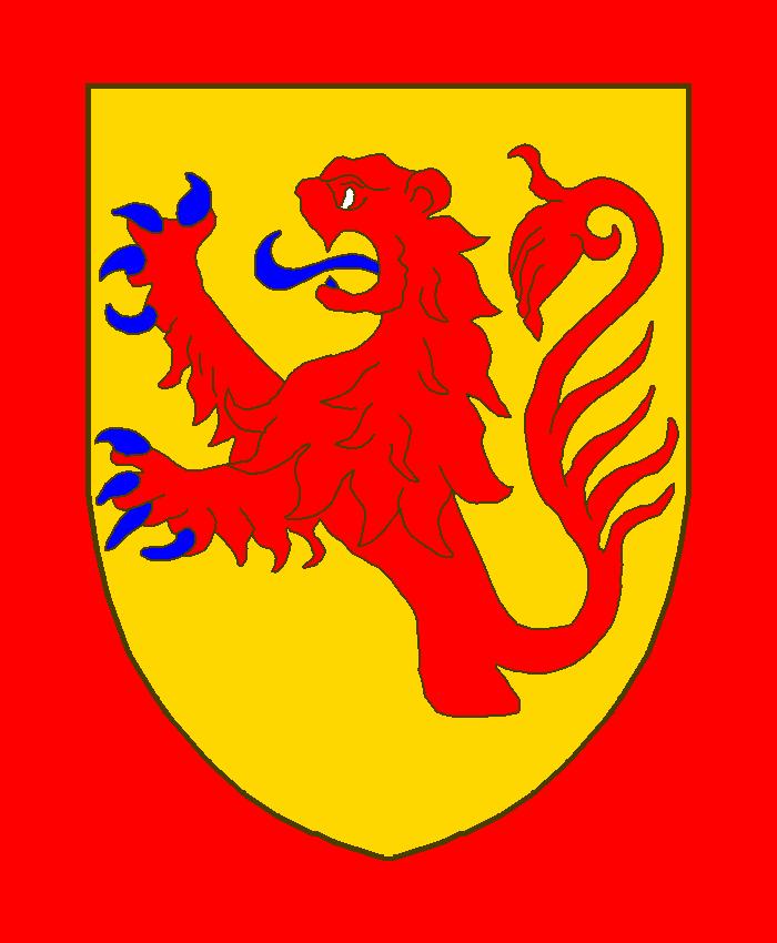 D'or à un lion naissant de gueules armé et lampassé d'azur.