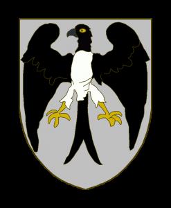 D'argent à un oiseau de paradis au naturel, le vol ouvert et abaissé, les ailes et la queue de sable, posé dans l'attitude de l'aigle héraldique.