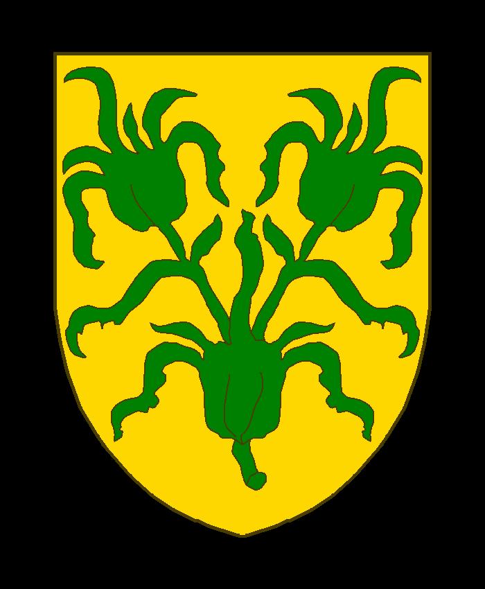 D'or à trois bourgeons de sinople, posés 2 et 1, les tiges des deux du chef sortant du bourgeon en pointe.