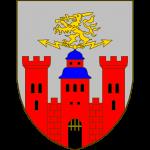 D'argent à château de gueules composé de trois tours, celle du milieu toîté d'azur, ceux au flanc crénélées. Sur le toit, un éclair dans les deux directions et un lion tenant une épée, le tout d'or.