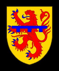 D'or au lion de gueules, armé et lampassé d'azur, chargé d'un lambel à trois pendants également d'azur.