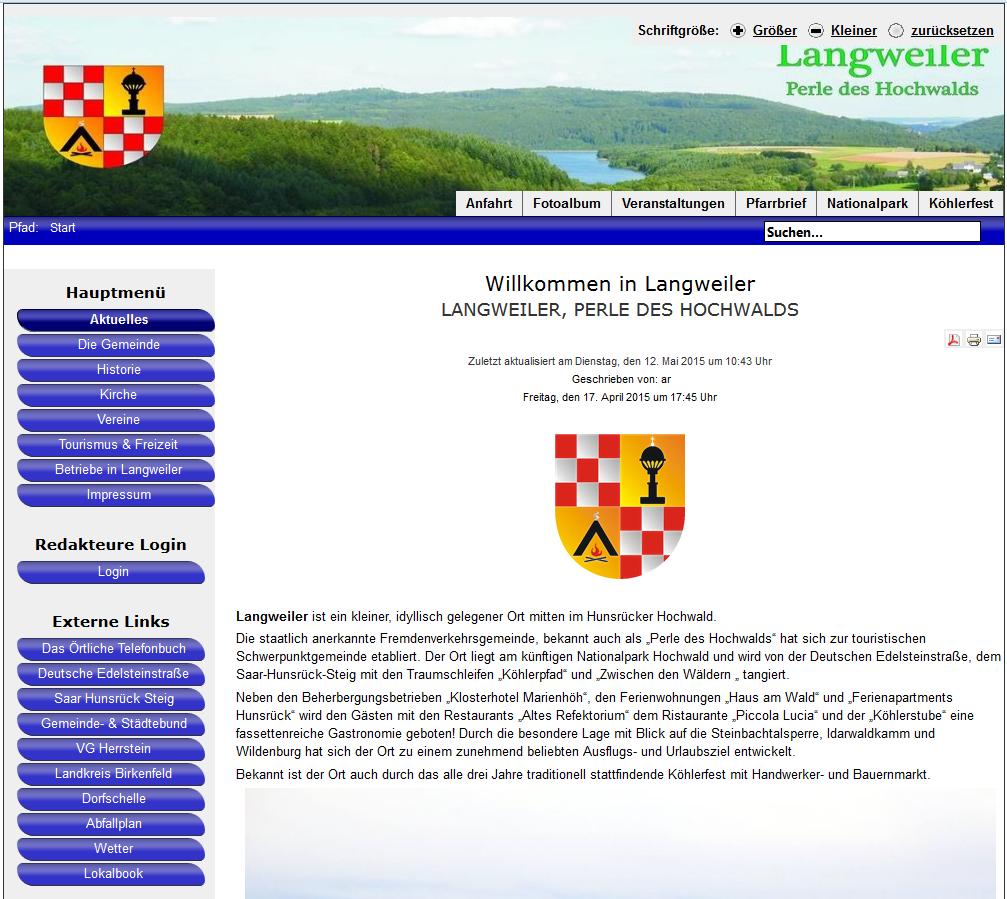 Screenshot der Homepage der Gemeinde Langweiler am 26. August 2015