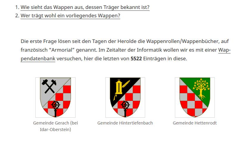 Screenshot, die Wappensammlung beim 5522. Wappen