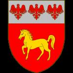 De gueules au cheval passant d'or, au chef d'argent chargé de trois alérions de gueules.