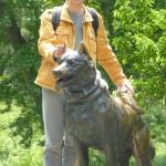 Statue eines Rettungshundes