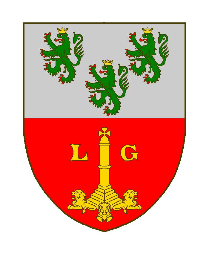 Coupé au ler d'argent à trois lions de sinople, armés et lampassés de gueules, couronnés d'or, au 2 de gueules au perron Liègeois accosté des lettres capitales L et G, le tout d'or.