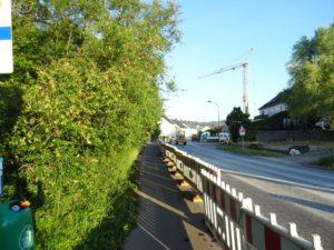 Links Bäume, Mitte Radweg mit Bauzaun, rechts die noch nicht freigegebene Fahrbahn, im Hintergrund ein Baufahrzeug